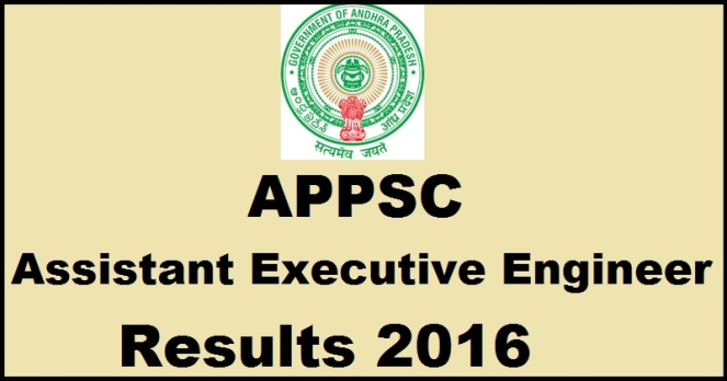 APPSC AEE Results 2016 For Assistant Executive Engineer