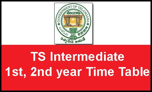 TS Telangana Intermediate 1st 2nd year Exam Time Table 2017