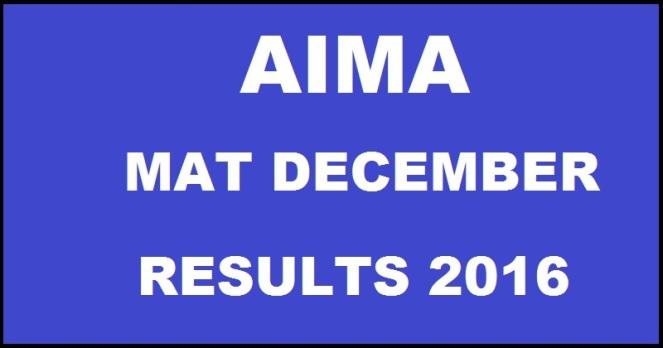 AIMA MAT December 2016 Results
