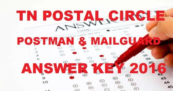 Tamil Nadu Postal Circle Answer Key 2016